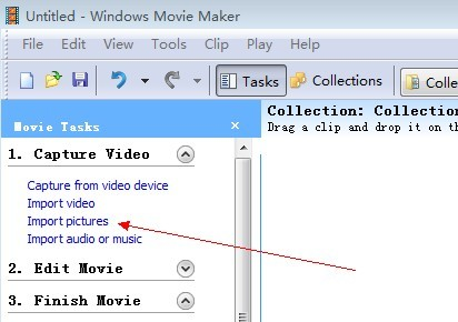 windows movie maker import pictures